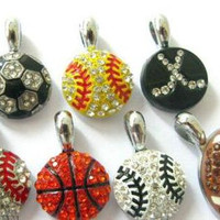 Rhinestone sports pendant charms for necklaces