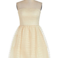 ModCloth Vintage Inspired Mid-length Strapless Ballerina Riesling to Celebrate Dress