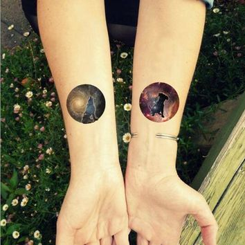 Waterproof Temporary Fake Tattoo Stickers Wolf Dog Planet Constellation Cool Design Body Art Make Up Tools