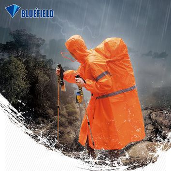 BlueField Outdoor Raincoat Backpack Cover One-piece Raincoat Poncho Rain Cape Outdoor Hiking Camping Jackets Unisex Rain Gear