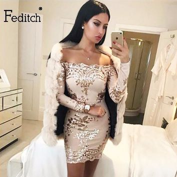 Feditch Sexy Strapless Sequined Dress Women Fashion Long Sleeve Women Christmas Dress Vintage Club Wear Bodycon Vestidos Hot