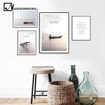 Scandinavian Landscape Sea Boat Canvas Poster Motivational Minimalist Nordic Style Wall Art Print Painting Decoration Picture