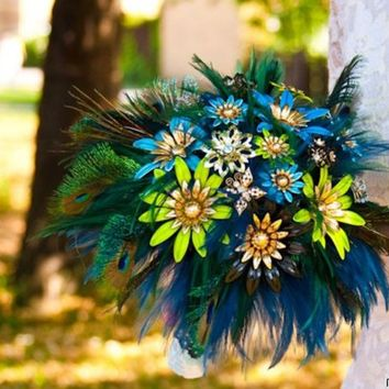 Bridal brooch original bouquet PEACOCK PRIDE II - wedding keepsake made with vintage brooches, earrings and feathers - green blue gold