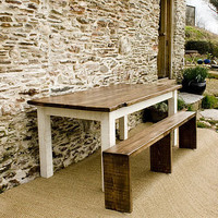 bantham reclaimed wood table and benches set by nkuku | notonthehighstreet.com