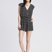 Banana Republic Womens Printed Faux Wrap Romper