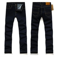new Business straight jeans men pants junior high elastic men's trousers are men's clothing