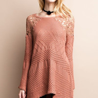 Bell Sleeve Knitted Sweater Tunic