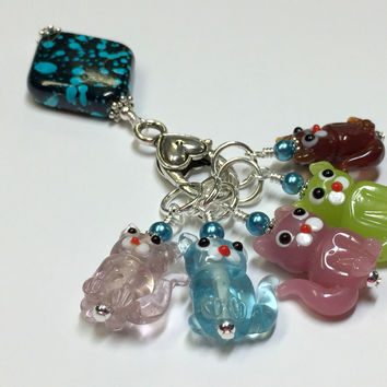 5 Little Cats Stitch Marker Set with Clip Holder
