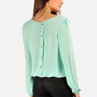 Scrunch Bottom Top - Mint at Necessary Clothing