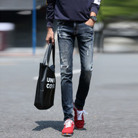 Winter Korean Ripped Holes Black Stretch Slim Jeans [6541365507]