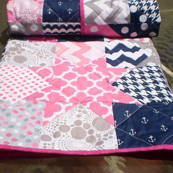 Nautical Baby quilt,patchwork crib quilt,baby girl bedding,baby quilt,hot pink,navy,grey,chevron,waves,toddlerCatch a falling star Anchor