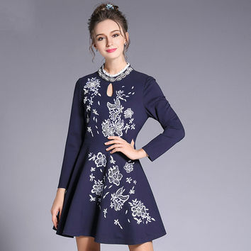 Beaded Embroidery Dress Plus Size Women Clothing Blue Fit Flare Mini Long Sleeve Dresses Spring New 2017 l to 4xl 5xl