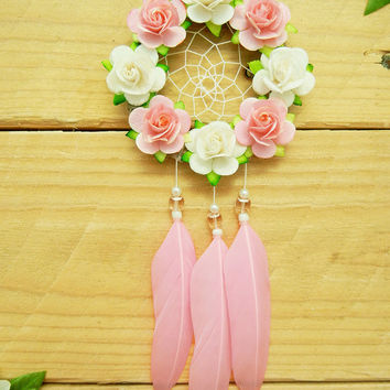 Pink Flower Car Dreamcatcher: Rearview Mirror Accessory, Interior Car Accessory, Flower Dreamcatcher, Car Decoration, Valentine's Day Gift