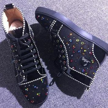 DCCK Cl Christian Louboutin Rhinestone Style #1964 Sneakers Fashion Shoes