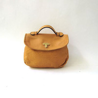 vintage yellow leather clutch / leather handbag / supple leather bag