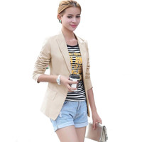2016 summer-autumn one button plus size slim women suits female Long Sleeve blazer Coat Casual Jackets casacos blaiser feminino