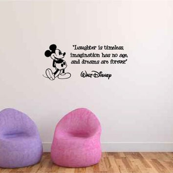 Laughter is Timeless Imagination Has No Age and Dreams are Forever Walt Disney Vinyl Wall Words Decal Sticker Graphic