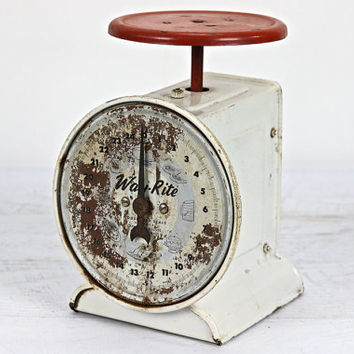 Kitchen Scale, Vintage Scale, Old Scale, Red And White Scale, Old Farm Scale, Rustic, Industrial