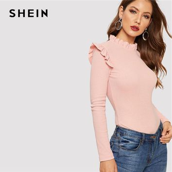 SHEIN Pink Frill Neck Stand Collar Ruffle Shoulder Ribbed Knit Slim Fit T Shirt Women Autumn Casual Long Sleeve Tshirt Top