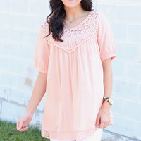 Good Vibes Lace Yoke Blouse {Peach}