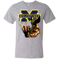 Michigan Wolverines Custom Designed Men's Printed V-Neck T-Shirt