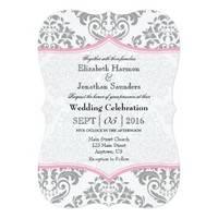 Pink Gray Damask Bracket Wedding Invite