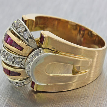 1940s Antique Art Deco Estate 14k Solid Yellow Gold Ruby .50ctw Diamond Ring