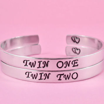 Twin One, Twin Two - Hand Stamped Sister bracelets Set, Twin Sisters Matching Pair Bracelets, BFF FriendshipBracelets, Personalized Gift