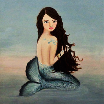 Mermaid Wall Art- Beach Cottage Decor- Acrylic Painting- Mermaid Bathroom- Coastal Art- 16X20 inches