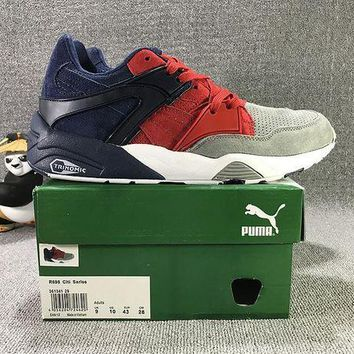 PEAPON3A VAWA Puma Trinomic Blaze Suede Mid-High Casual Shoes Sneaker Grey Blue