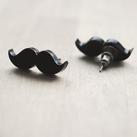 Moustache/Mustache Stud Earrings, Nickel Free, Black | Luulla