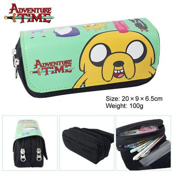 Adventure Time Canvas Double Zipper Wallet Students Stationery Case #222 Large Capaeity Pencil Bag Kids Gift