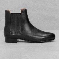 & Other Stories | Stretch Panel Leather Boots | Red Dark