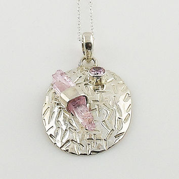 Kunzite Rough Crystal Sterling Silver Pendant