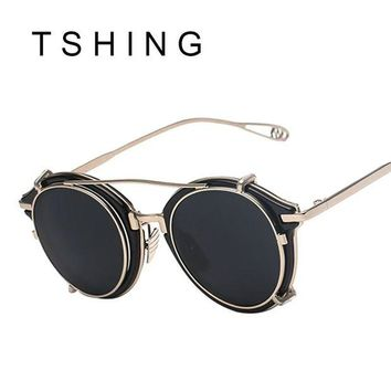 VONFC9 TSHING New Steampunk Round Sunglasses Men Women Fashion Brand UV400 Alloy Frame Steam punk Mirror Clip Sun Glasses Male Female