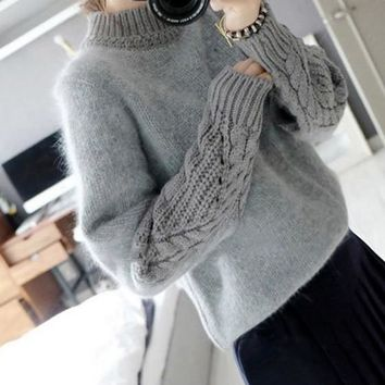 Grey Patchwork Pattern High Neck Fashion Cotton Pullover Sweater