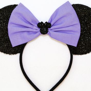 Daisy Duck - Black Sparkly Minnie Ears with Lavender Bow