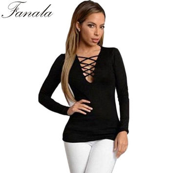 2016 Spring Autumn European Fashion Lace Up T Shirt Women Sexy V Neck Hollow Out Top Casual Basic Female T-shirt Plus Size