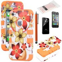 iPhone 4S Case, iPhone 4 Case, ULAK Heavy Duty Flower Hybrid Rugged Shockproof Hard Case for iPhone 4S iPhone 4 Cover with Screen Protector and Stylus (Orange)