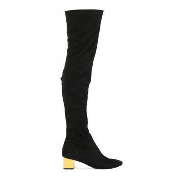 NAIYA COLOUR BLOCK HEEL LONG BOOTS IN BLACK FAUX SUEDE YELLOW HEEL