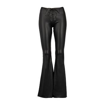 Paint It Black Faux Leather Flared Bell Bottom Pants