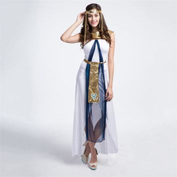 2016 Fairy Greek Goddess Costumes Egyptian Queen Cleopatra Costume Halloween Party Cosplay Clothes Sexy White Arab Woman Dress