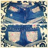 Roses and leopard print denim shorts  by AngeliqueMerici on Etsy
