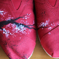 Cherry Blossom Custom Toms by PoppyBouquet on Etsy