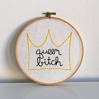 the queen bitch's crown hand embroidered illustration in hoop