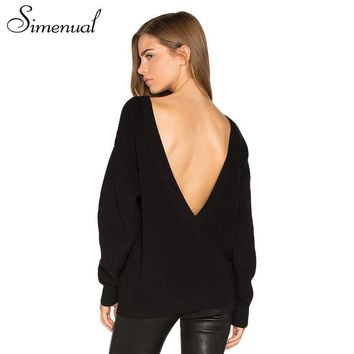 Simenual Backless deep V sexy women sweaters and pullovers casual solid slim long sleeve jumper 2017 autumn knit sweater pull