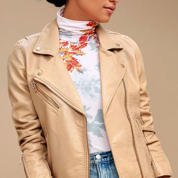 City of Dreams Light Tan Vegan Leather Moto Jacket