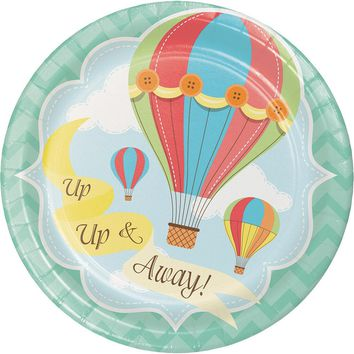 Up, Up and Away Dessert Plates, Hot Air Balloon Paper Plates, Balloons Dinnerware, Luncheon Plates