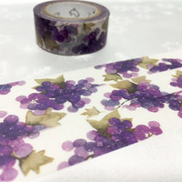 Purple Grapes washi tape 7M Grapes scene natural fruit masking tape purple garden decor natural scenery scrapbook gift wrapping sticker tape