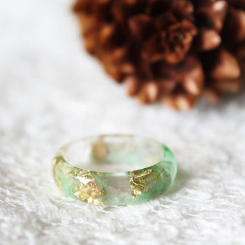 eco resin ring - size 6 or 8.5 - woodland ring - green resin ring - gift idea for her - nature ring - forest jewelry